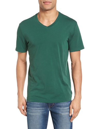 green v-neck t-shirt