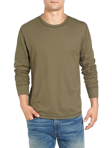 olive green thermal long sleeve t-shirt